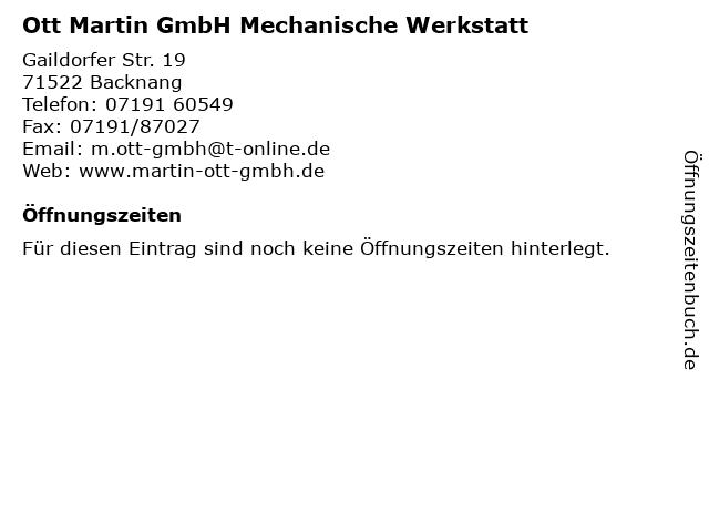 Ott Martin GmbH Mechanische Werkstatt in Backnang: Adresse und Öffnungszeiten