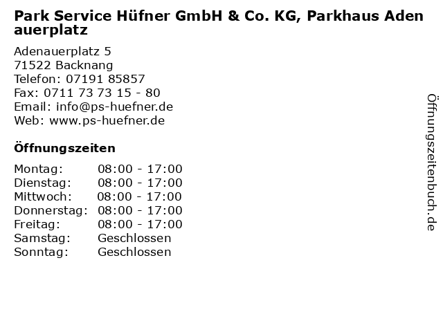 Park Service Hüfner GmbH & Co. KG, Parkhaus Adenauerplatz in Backnang: Adresse und Öffnungszeiten