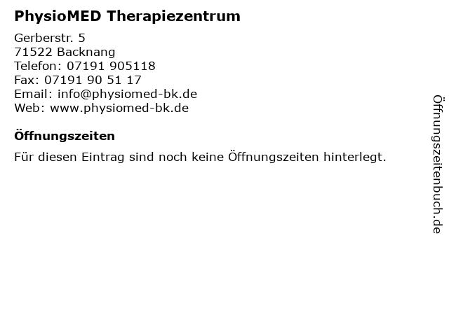 PhysioMED Therapiezentrum in Backnang: Adresse und Öffnungszeiten