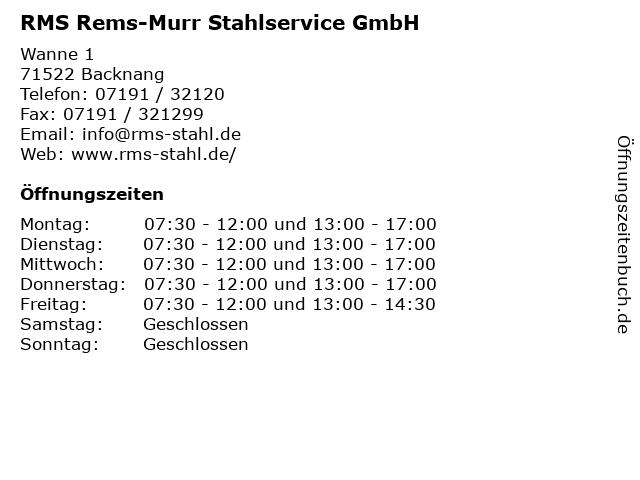 RMS Rems-Murr Stahlservice GmbH in Backnang: Adresse und Öffnungszeiten