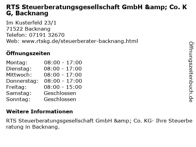 RTS Steuerberatungsgesellschaft KG - Backnang in Backnang: Adresse und Öffnungszeiten