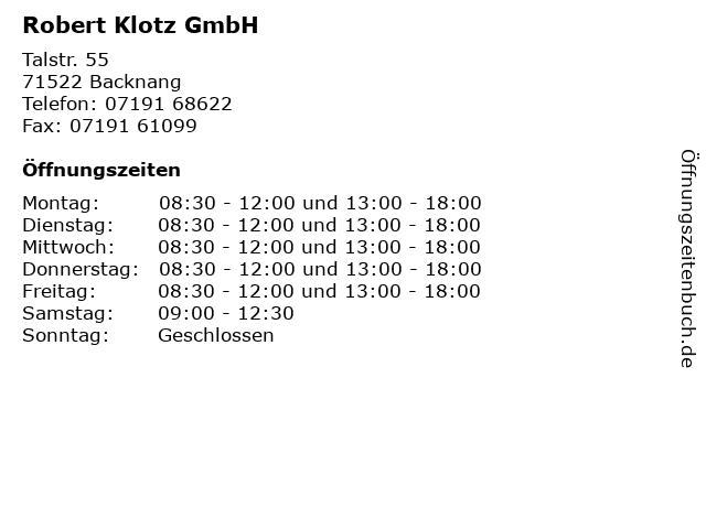 Robert Klotz GmbH in Backnang: Adresse und Öffnungszeiten