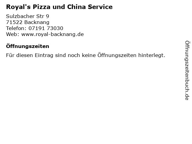Royal's Pizza und China Service in Backnang: Adresse und Öffnungszeiten