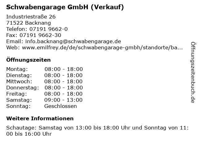 Schwabengarage GmbH (Verkauf) in Backnang: Adresse und Öffnungszeiten