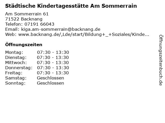 Städtische Kindertagesstätte Am Sommerrain in Backnang: Adresse und Öffnungszeiten