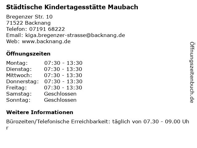 Städtische Kindertagesstätte Maubach in Backnang: Adresse und Öffnungszeiten