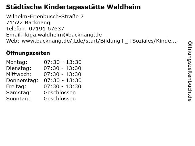 Städtische Kindertagesstätte Waldheim in Backnang: Adresse und Öffnungszeiten