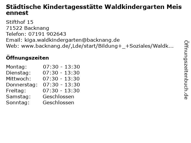 Städtische Kindertagesstätte Waldkindergarten Meisennest in Backnang: Adresse und Öffnungszeiten