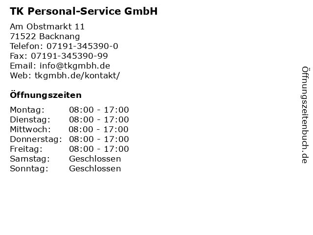 TK Personal-Service GmbH in Backnang: Adresse und Öffnungszeiten