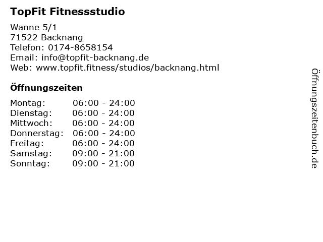 TopFit Fitnessstudio in Backnang: Adresse und Öffnungszeiten