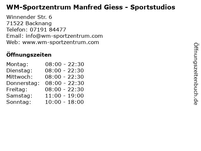WM-Sportzentrum Manfred Giess - Sportstudios in Backnang: Adresse und Öffnungszeiten