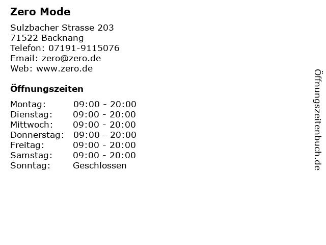 Zero Mode in Backnang: Adresse und Öffnungszeiten