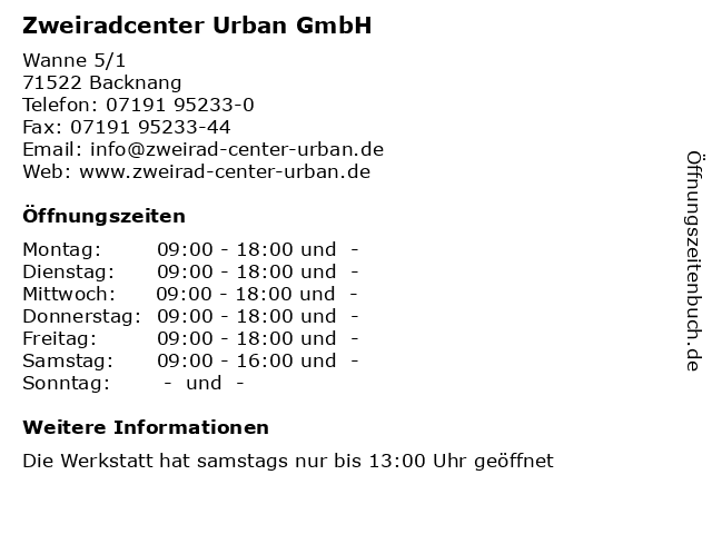 Zweiradcenter Urban GmbH in Backnang: Adresse und Öffnungszeiten