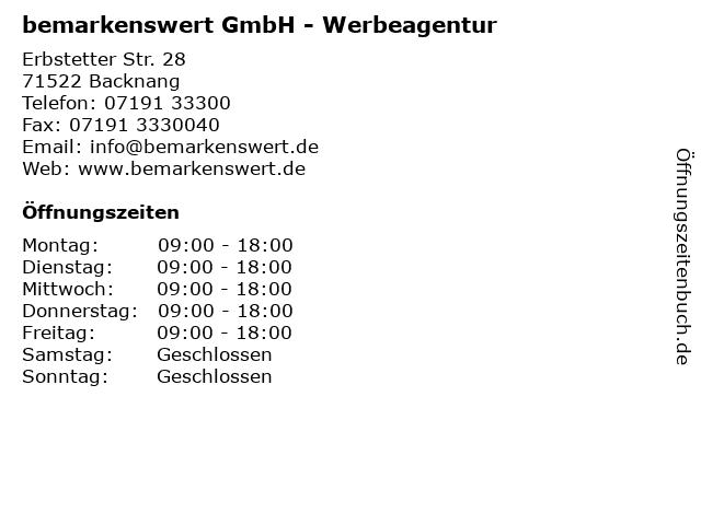 bemarkenswert GmbH - Werbeagentur in Backnang: Adresse und Öffnungszeiten