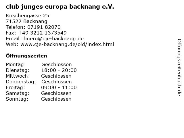 club junges europa backnang e.V. in Backnang: Adresse und Öffnungszeiten