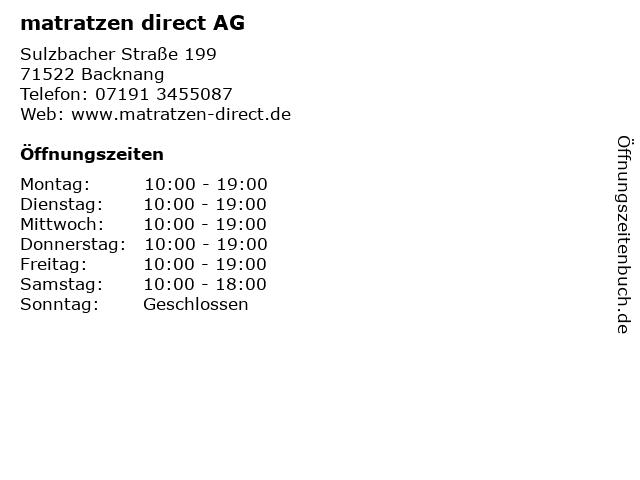 matratzen direct AG in Backnang: Adresse und Öffnungszeiten