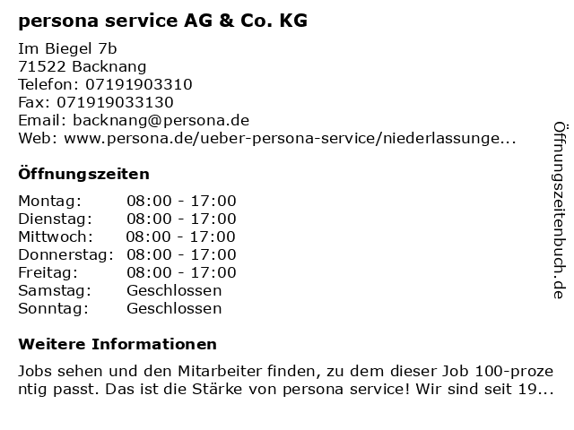 persona service AG & Co. KG in Backnang: Adresse und Öffnungszeiten