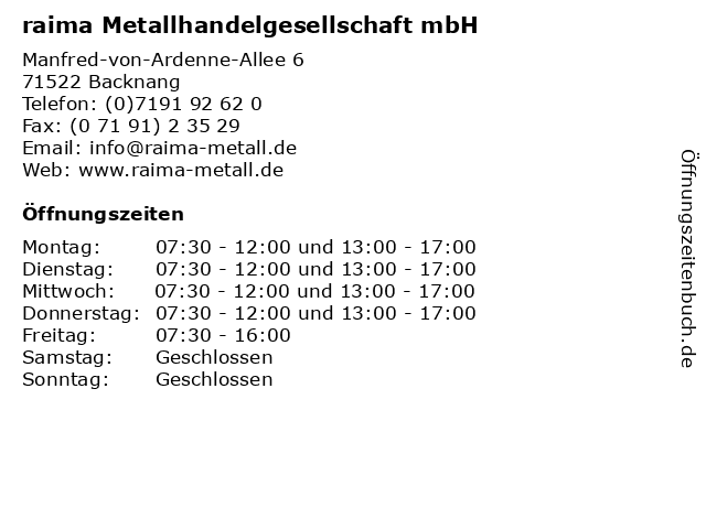 raima Metallhandelgesellschaft mbH in Backnang: Adresse und Öffnungszeiten