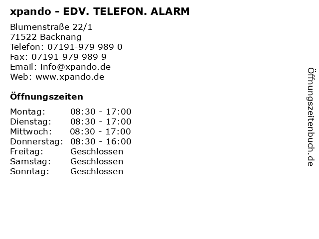 xpando - EDV. TELEFON. ALARM in Backnang: Adresse und Öffnungszeiten
