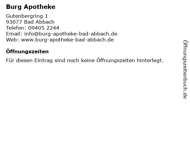 Burg Apotheke in Bad Abbach: Adresse und Öffnungszeiten