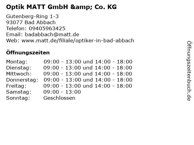 Optik MATT GmbH & Co. KG in Bad Abbach: Adresse und Öffnungszeiten