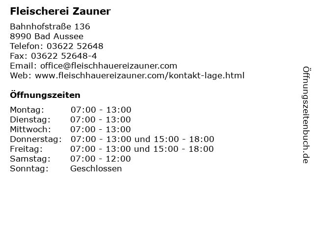 Fleischerei Zauner in Bad Aussee: Adresse und Öffnungszeiten