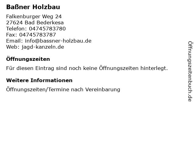 ᐅ Offnungszeiten Bassner Holzbau Falkenburger Weg 24 In Bad