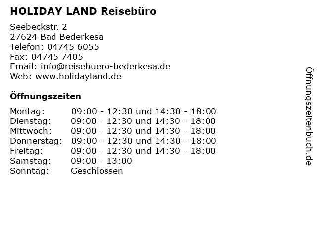 HOLIDAY LAND Reisebüro in Bad Bederkesa: Adresse und Öffnungszeiten
