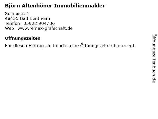 Björn Altenhöner Immobilienmakler in Bad Bentheim: Adresse und Öffnungszeiten