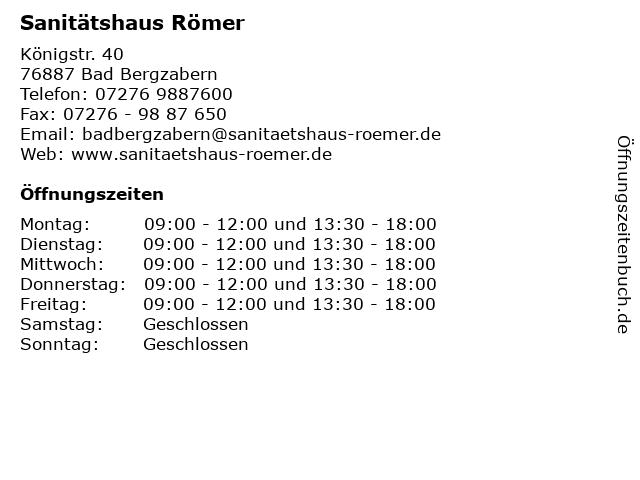 Sanitätshaus Römer in Bad Bergzabern: Adresse und Öffnungszeiten