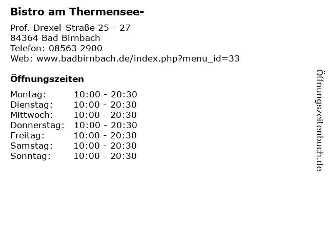 Bistro am Thermensee- in Bad Birnbach: Adresse und Öffnungszeiten