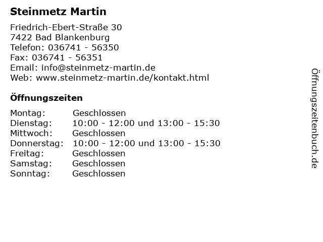 Steinmetz Martin in Bad Blankenburg: Adresse und Öffnungszeiten