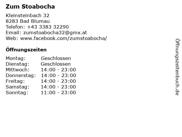 Zum Stoabocha in Bad Blumau: Adresse und Öffnungszeiten