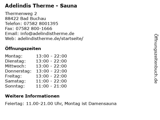 Adelindis Therme - Sauna in Bad Buchau: Adresse und Öffnungszeiten