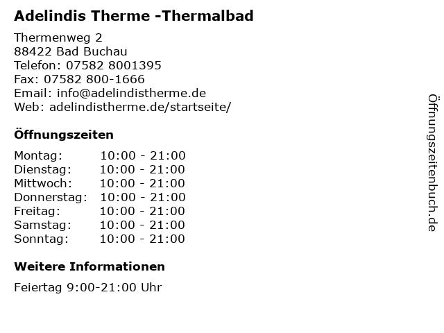 Adelindis Therme -Thermalbad in Bad Buchau: Adresse und Öffnungszeiten