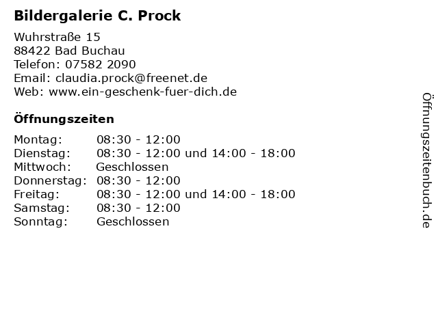 Bildergalerie C. Prock in Bad Buchau: Adresse und Öffnungszeiten