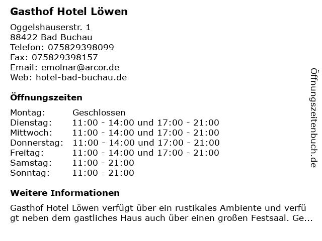 Gasthof Hotel Löwen in Bad Buchau: Adresse und Öffnungszeiten