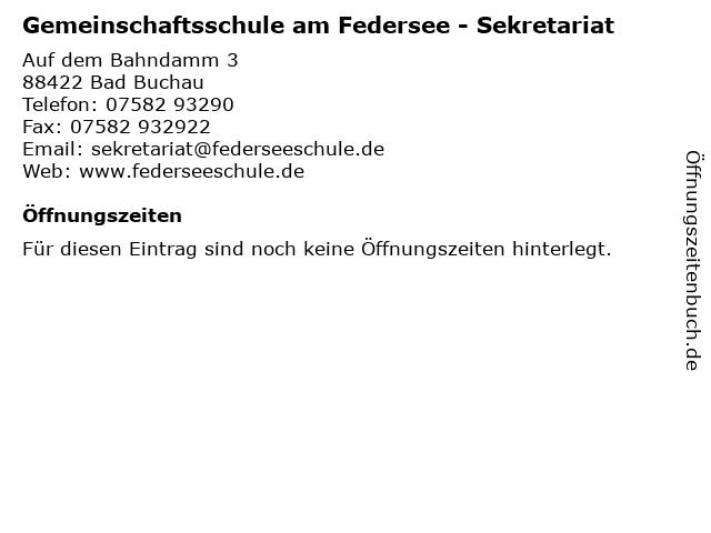 Gemeinschaftsschule am Federsee - Sekretariat in Bad Buchau: Adresse und Öffnungszeiten