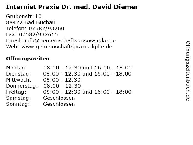 Internist Praxis Dr. med. David Diemer in Bad Buchau: Adresse und Öffnungszeiten