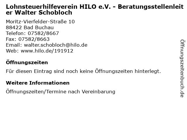 Lohnsteuerhilfeverein HILO e.V. - Beratungsstellenleiter Walter Schobloch in Bad Buchau: Adresse und Öffnungszeiten