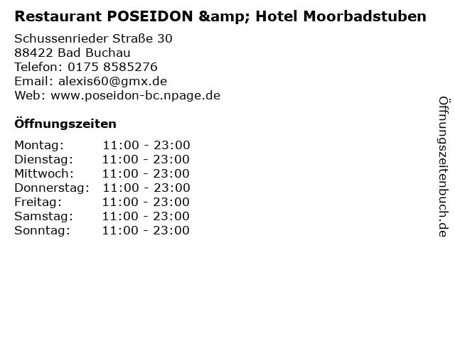 Restaurant POSEIDON & Hotel Moorbadstuben in Bad Buchau: Adresse und Öffnungszeiten