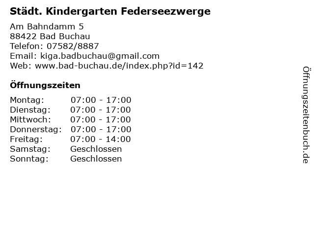 Städt. Kindergarten Federseezwerge in Bad Buchau: Adresse und Öffnungszeiten