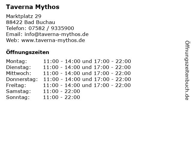 Taverna Mythos in Bad Buchau: Adresse und Öffnungszeiten