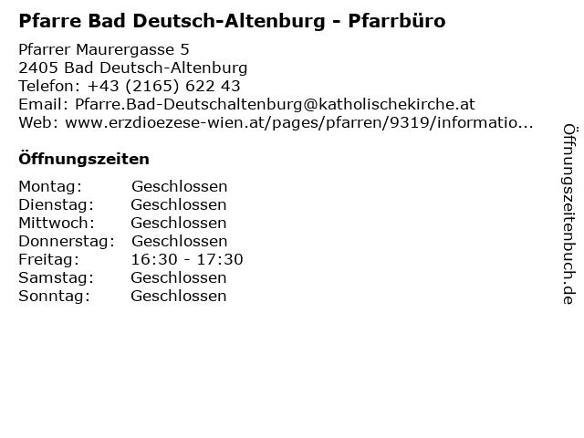 Pfarre Bad Deutsch-Altenburg - Pfarrbüro in Bad Deutsch-Altenburg: Adresse und Öffnungszeiten