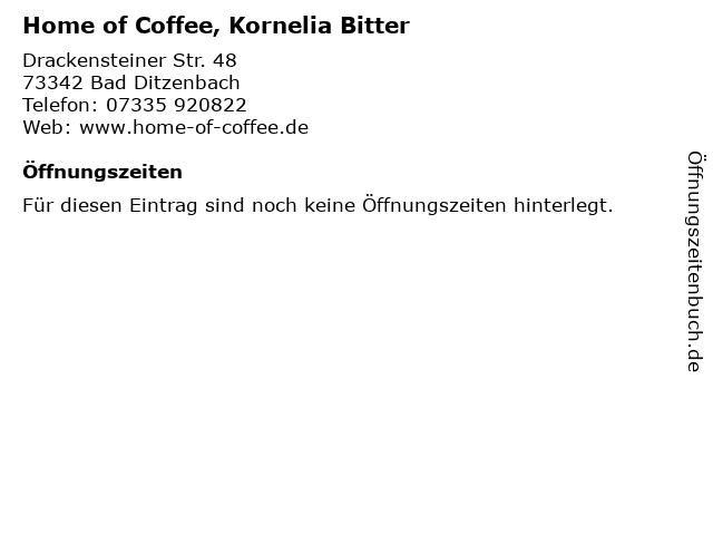 Home of Coffee, Kornelia Bitter in Bad Ditzenbach: Adresse und Öffnungszeiten