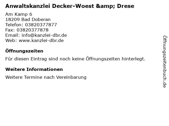 Anwaltskanzlei Decker-Woest & Drese in Bad Doberan: Adresse und Öffnungszeiten