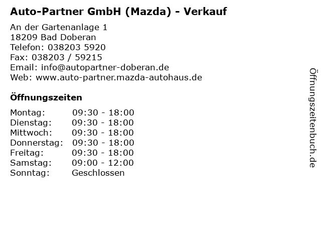 Auto-Partner GmbH (Mazda) - Verkauf in Bad Doberan: Adresse und Öffnungszeiten
