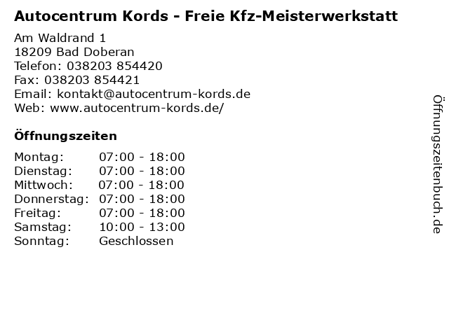 Autocentrum Kords - Freie Kfz-Meisterwerkstatt in Bad Doberan: Adresse und Öffnungszeiten