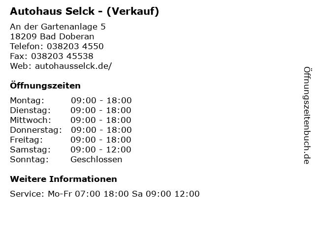 Autohaus Selck - (Verkauf) in Bad Doberan: Adresse und Öffnungszeiten
