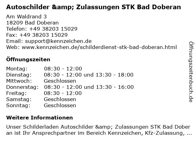 Autoschilder & Zulassungen STK Bad Doberan in Bad Doberan: Adresse und Öffnungszeiten